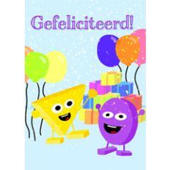 grote kaart A4 hophew - gefeliciteerd! - ballonnen en cadeautjes