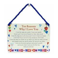 tinnen bordje met quote -hang-ups! - tekstbordje -  ten reasons why I love you