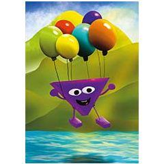 ansichtkaart -  hophew aan ballonnen