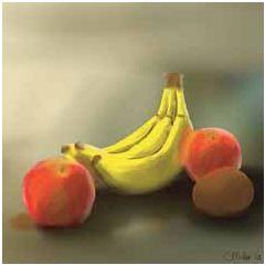 wenskaart claudia muller - bananen appels en kiwi fruit