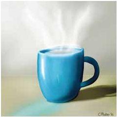 wenskaart claudia muller - kopje thee koffie of chocolademelk   muller wenskaarten