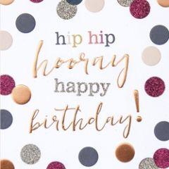 verjaardagskaart caroline gardner - hip hip - hip hooray happy birthday!