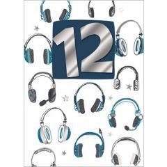 12 jaar - verjaardagskaart inspired - koptelefoon