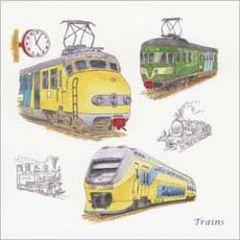 wenskaart - trains - treinen