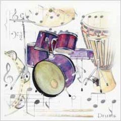 wenskaart - drums - drumstel