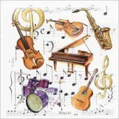 wenskaart - music - muziek instrumenten
