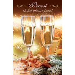 8 nieuwjaarskaarten - proost op het nieuwe jaar - champagne