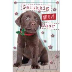 8 nieuwjaarskaarten -  gelukkig nieuwjaar - puppy