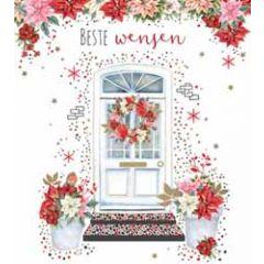 8 nieuwjaarskaarten - beste wensen - voordeur en kerstster