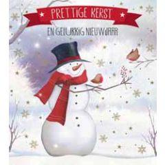 8 kerstkaarten - prettige kerst en gelukkig nieuwjaar - sneeuwpop
