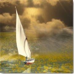 vierkante ansichtkaart met envelop - maïlo -  voyage du navigateur solitaire - zeilboot