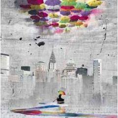vierkante ansichtkaart met envelop - maïlo - colorer le monde - explorer - paraplu