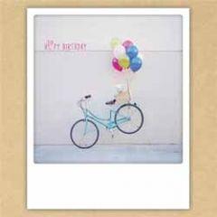 ansichtkaart instagram pickmotion - huppy birthday - ballonnen aan fiets