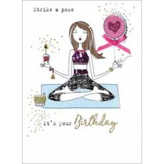 verjaardagskaart - strike a pose, it's your birthday - yoga
