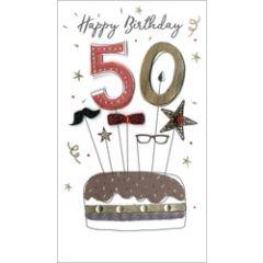 50 jaar - grote luxe verjaardagskaart - 50 happy birthday - taart met snor en bril - abraham