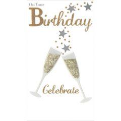 grote luxe verjaardagskaart - on your birthday celebrate - champagne