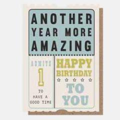verjaardagskaart caroline gardner - happy birthday to you - ticket