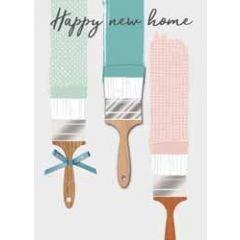 wenskaart nieuwe woning - happy new home - verf kwasten