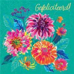 wenskaart clare maddicott - gefeliciteerd - bloemen