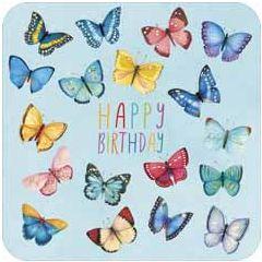 vierkante ansichtkaart met envelop - lali - happy birthday - vlinders