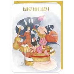 wenskaart correspondances - happy birthday - vrouw met dieren en taart
