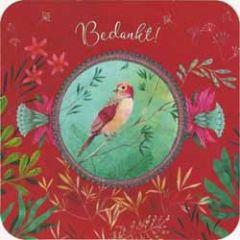 vierkante ansichtkaart met envelop - bedankt - vogel izou