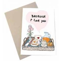 wenskaart mouse & pen - because i love you - dienblad met ontbijt