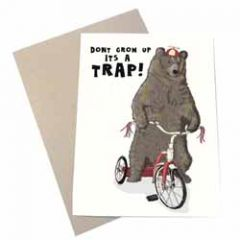 wenskaart mouse & pen - don't grow up it's a trap - beer op driewieler