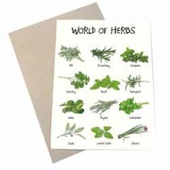 wenskaart mouse & pen - world of herbs - kruiden