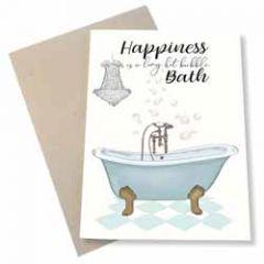 wenskaart mouse & pen - happiness is a long hot bubble bath