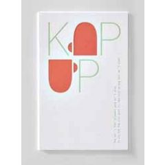 letterpress ansichtkaart met envelop - kop op