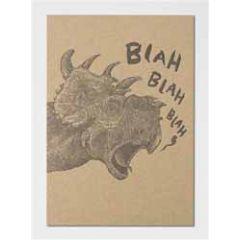 letterpress ansichtkaart met envelop - blah blah blah - dinosaurus