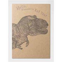 letterpress ansichtkaart met envelop - hello, pleased to eat you! - dinosaurus