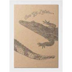 letterpress ansichtkaart met envelop - see ya later... - krokodil
