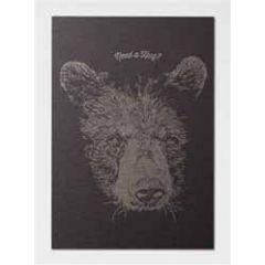 letterpress ansichtkaart met envelop - need a hug? - beer