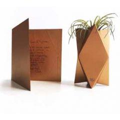 vierkante wenskaart te vouwen tot vaas - koper