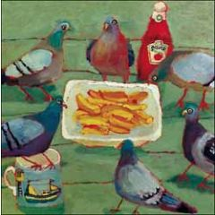 verjaardagskaart woodmansterne - duiven eten frites