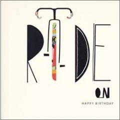 verjaardagskaart woodmansterne - ride on happy birthday - fiets wielrennen