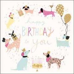 verjaardagskaart woodmansterne - happy birthday to you - honden