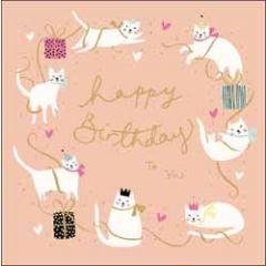 verjaardagskaart woodmansterne - happy birthday to you - katten