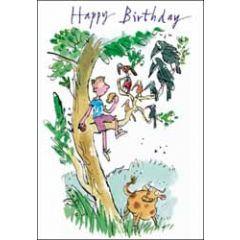 verjaardagskaart quentin blake - happy birthday - boom met vogels