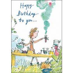 verjaardagskaart quentin blake - happy birthday to you - scheikunde proefjes