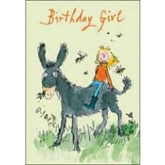verjaardagskaart quentin blake - birthday girl - meisje op ezel