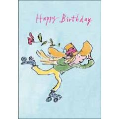 verjaardagskaart quentin blake - happy birthday - skeelers