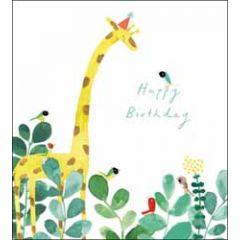 verjaardagskaart woodmansterne - happy birthday - giraf en vogels