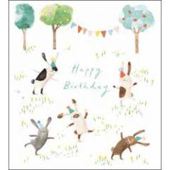 verjaardagskaart woodmansterne - happy birthday - konijnen