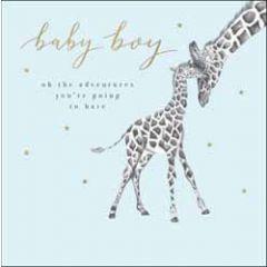 geboortekaart woodmansterne - baby boy - giraffes