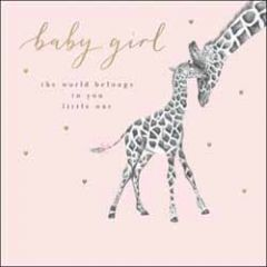 geboortekaart woodmansterne - baby girl - giraffes