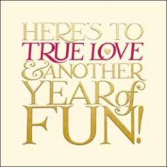 wenskaart woodmansterne - here's to true love & another year of fun