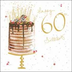 60 jaar - verjaardagskaart woodmansterne - happy 60th birthday - taart